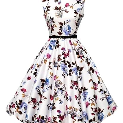 Retro šaty s délkou ke kolenům - varianta 1, velikost č. 3 - dodání do 2 dnů