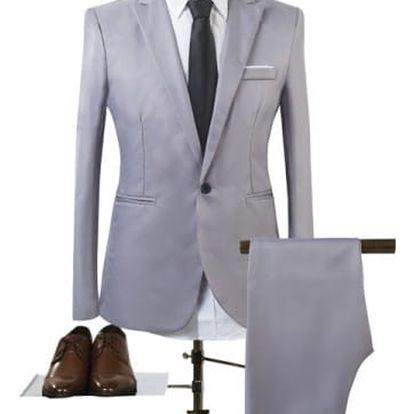 Pánský společenský oblek - šedá, vel. 3