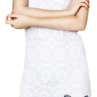 Desigual bílé krajkové šaty Cadaqués