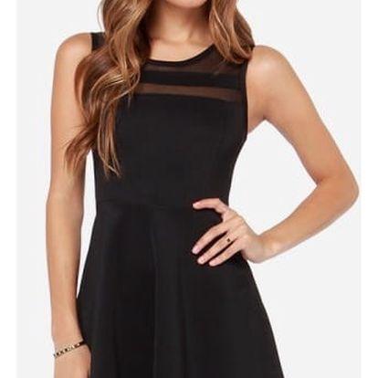 Minimalistické šaty s áčkovou sukní - černá, vel. 4