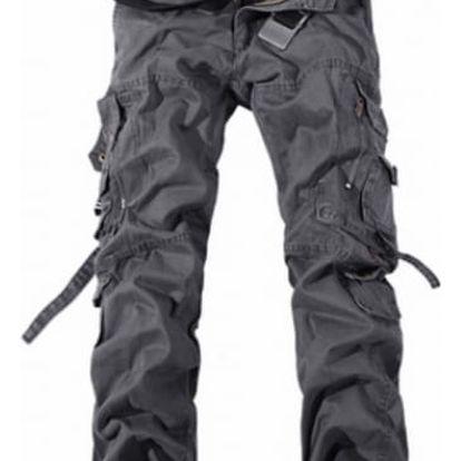 Pánské kalhoty s kapsami - šedé, vel. 10