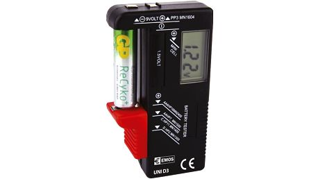Emos tester baterií UNI D3 - AA, AAA, C, D, 9V a knoflíkové, LCD displej - 2203003000