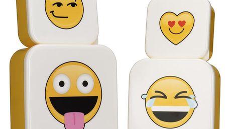 Sada 4 svačinových boxů NPW Emojinal Lunchboxes