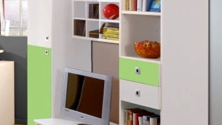 Sunny - Obývací stěna (alpská bílá se zeleným jablkem)