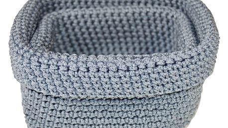 Set 2 modrošedých háčkovaných košíků Jocca Crochet