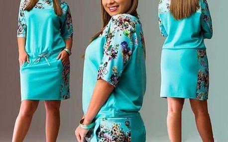 Jarní šaty volnějšího střihu pro plnější postavy - tyrkysová barva - velikost 4 - dodání do 2 dnů