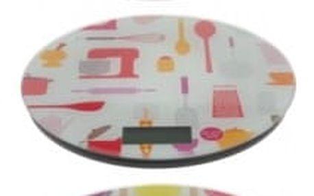 Váha kuchyňská digitalní 5 kg kulatá barevný motiv ProGarden KO-967324