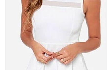 Minimalistické šaty s áčkovou sukní v bílé barvě, vel. 5