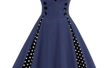 Retro šaty s puntíky - modré, vel. 3