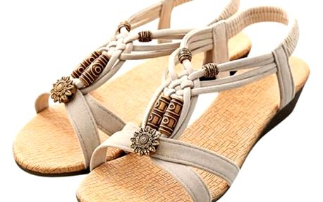 Dámské ornamentální sandály - béžové, vel. 38