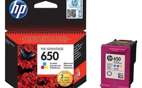 Inkoustová náplň HP No. 650, 200 stran - originální (CZ102AE#BHK) červená/modrá/žlutá