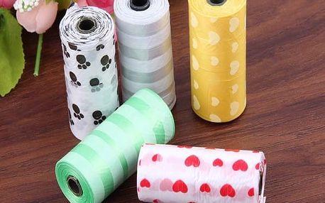 Sáčky na psí výkaly v různých barvách - 2 ruličky (30 kusů)