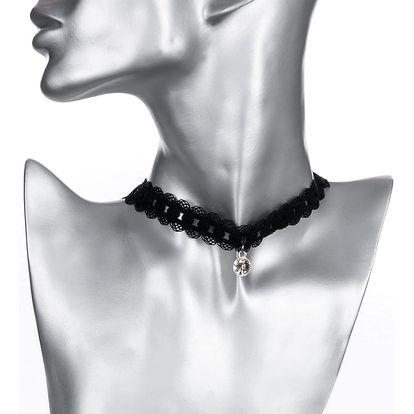 Fashion Icon Náhrdelník barevný choker krajka s krystalem