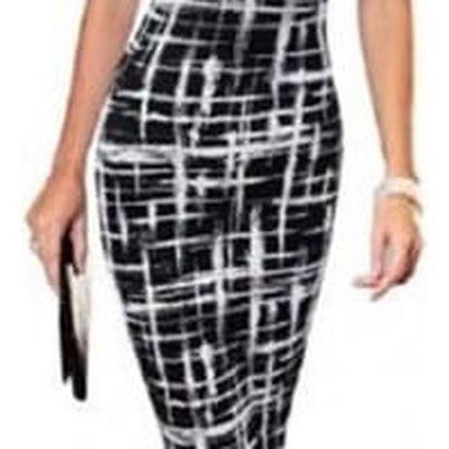 Elegantní dámské šaty s koženkovým zdobením na rameni - varianta A, vel. 7