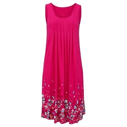 Lehké dlouhé květinové šaty pro ženy - růžová, velikost 3