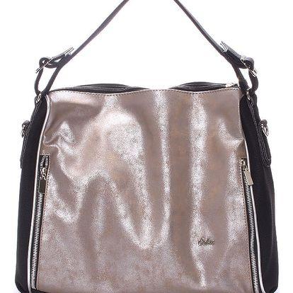 Luxusní dámská kabelka přes rameno antracitová - SEKA Gema šedá