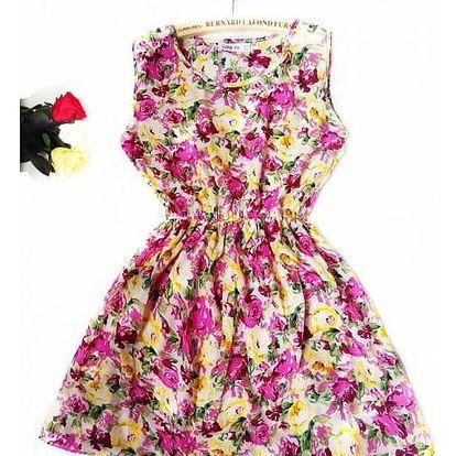 Dámské šaty s elastickým pasem a květinovým potiskem - varianta 20, velikost 6