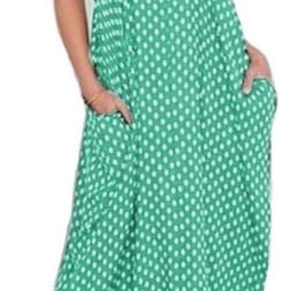 Dámské puntíkované maxi šaty s kapsami - Zelená - 5