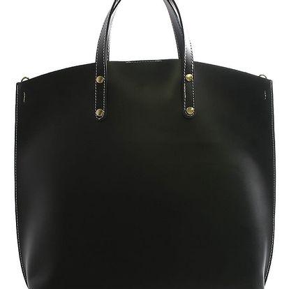 Černá kožená kabelka do ruky ItalY Sydney bíle prošitá černá
