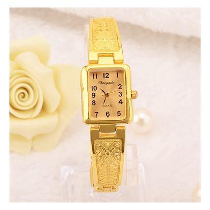 Dámské náramkové hodinky s úzkým zdobeným páskem - zlatá barva