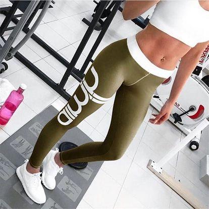 Dámské fitness legíny - 8 barevných variant - vojensky zelená velikost 2 - dodání do 2 dnů
