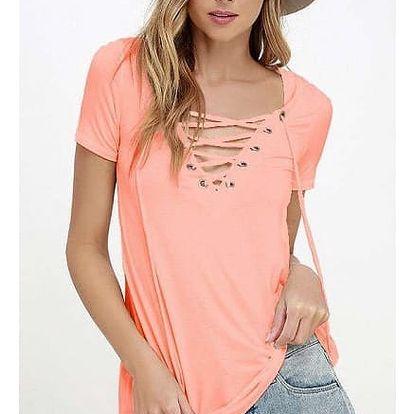 Dámské tričko s výstřihem a šněrováním - Světle růžová, velikost 5