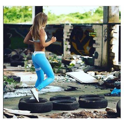 Dámské fitness legíny - modrá, velikost 2
