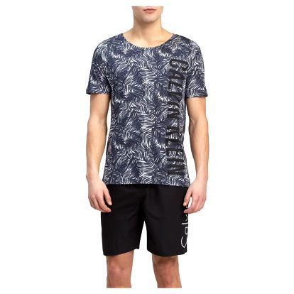 Calvin Klein tropické pánské tričko Relaxed Crew Tee Jungle Black