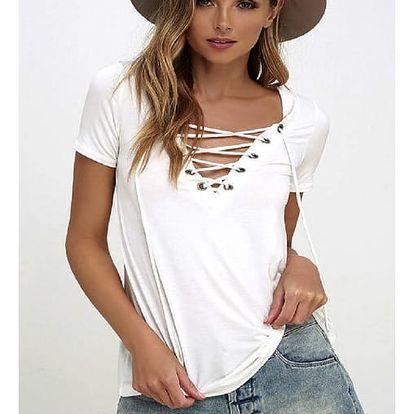 Dámské tričko s V výstřihem s tkaničkou - Bílá - 4
