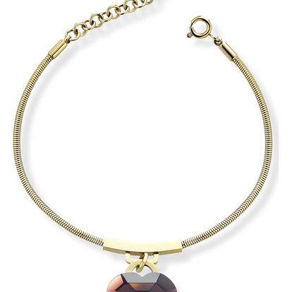 Ops! Objects zlatý náramek s fialovým srdcem Ops! Shiny