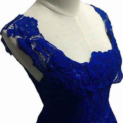 Krajkové šaty bez rukávů - 7 barev - modrá-5