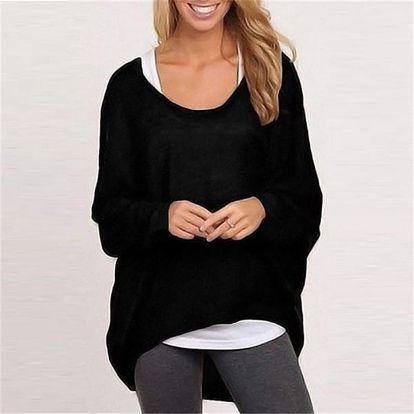Lehký dámský svetřík v mnoha barvách - Černá, velikost 2