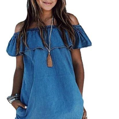 Džínové šaty s volánem - velikost č. 2 - dodání do 2 dnů