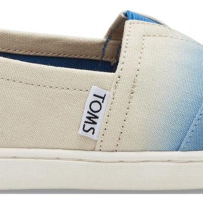 Toms krémovo-modré junior espadrilky Classic Cobalt Dip Dye