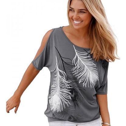 Dámské tričko s odhalenými rameny a peříčky - šedá, velikost 2