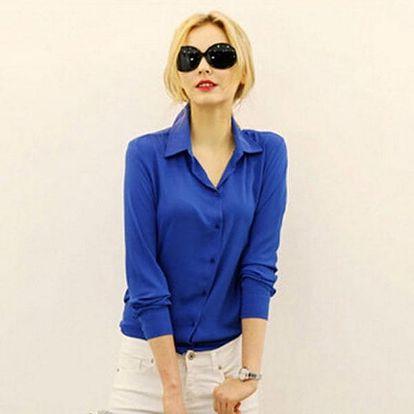 Dámská šifónová košile v modré barvě - vel. 6