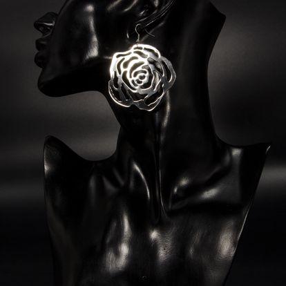 Fashion Icon Náušnice Rose růže velké stříbrné