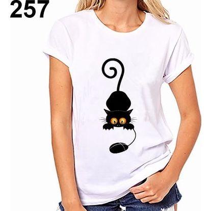 Dámské tričko s motivy kočiček - varianta 257, velikost 7