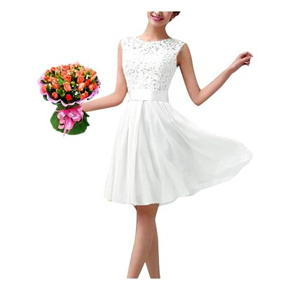 Dámské letní šaty s krajkovým topem - bílá, velikost č. 6