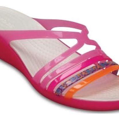 Crocs růžové pantofle na klínku Isabella Mini Wedge W Party pink/Candy pink