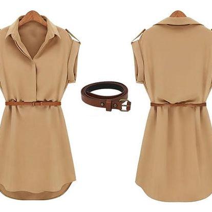 Letní košilové šaty - béžové, vel. 5