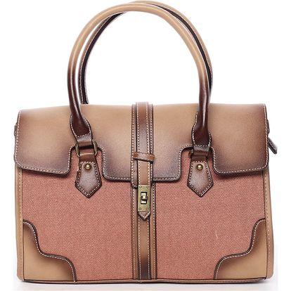 Trendy dámská kabelka do ruky hnědá - MARIA C Delmare hnědá