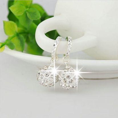 Kulaté náušnice s krystalky - bílá
