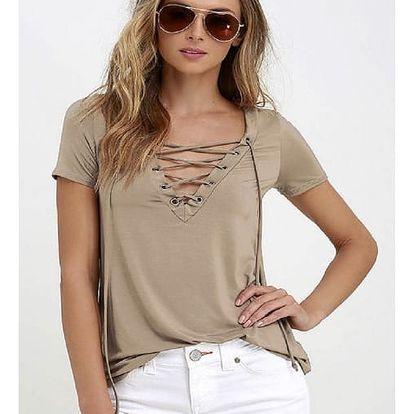 Dámské tričko s V výstřihem s tkaničkou - Khaki, velikost 4