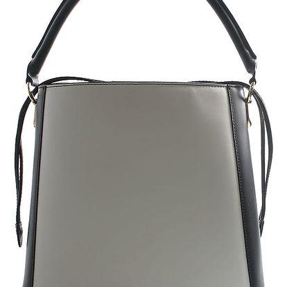 Černo bílá luxusní kožená kabelka ItalY Patricia černo/bílá