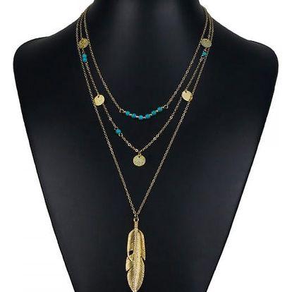 Vintage vícevrstvý náhrdelník s pírkem - Zlatá barva