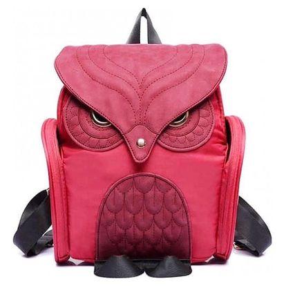 Stylový dámský batoh s motivem sovy - Sytá růžová