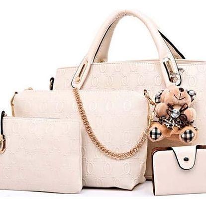 Sada dámské kabelky, taštiček a peněženky v různých barvách s roztomilým přívěškem - Béžová