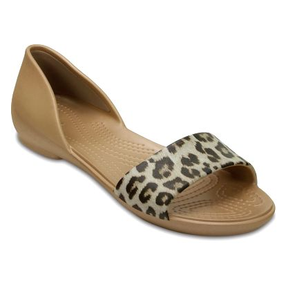 Crocs béžové sandály Lina Graphic Dorsay Leopard