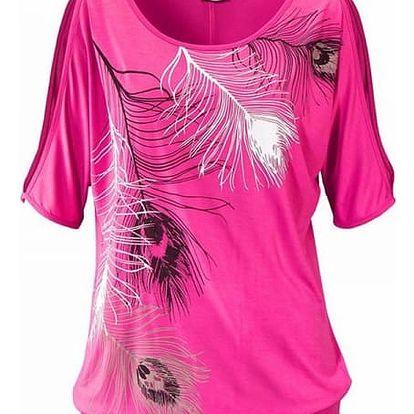 Dámské tričko s odhalenými rameny a peříčky - růžová, velikost 2